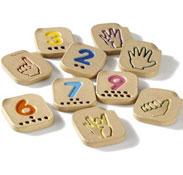 Números del 1 al 10 en lenguaje de los signos fabricados ecológicamente el conjunto