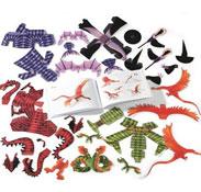 Dragones y brujas figuritas de papel para crear el conjunto