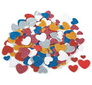 Figuras con purpurina en gomaespuma adhesiva corazones aprox. 200