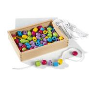 Baúl de perlas de madera para enhebrar colores pasteles el conjunto