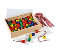 Baúl de perlas de madera para enhebrar colores vivos el conjunto