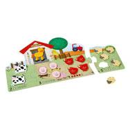 Puzzle encaje de 1 a 5 animales de granja la unidad