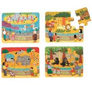 Caja de puzzles los animales del zoo los 4