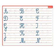 Pizarra de escritura letras mayúsculas cursivas la unidad