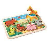 Puzzle encajable 2 en 1 animales de granja la unidad