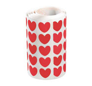 Gomets de corazones en rollo rojas aprox. 900