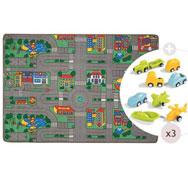 Maxi lote alfombra de carretera modelo grande con vehículos el conjunto
