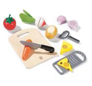 Alimentos de madera para cortar el conjunto