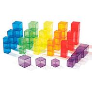 Cubos transparentes multicolores lote de 54