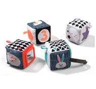 Cubos de tela en blanco y negro lote de 4