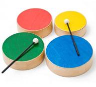 Conjunto de 4 tamboriles de madera de colores